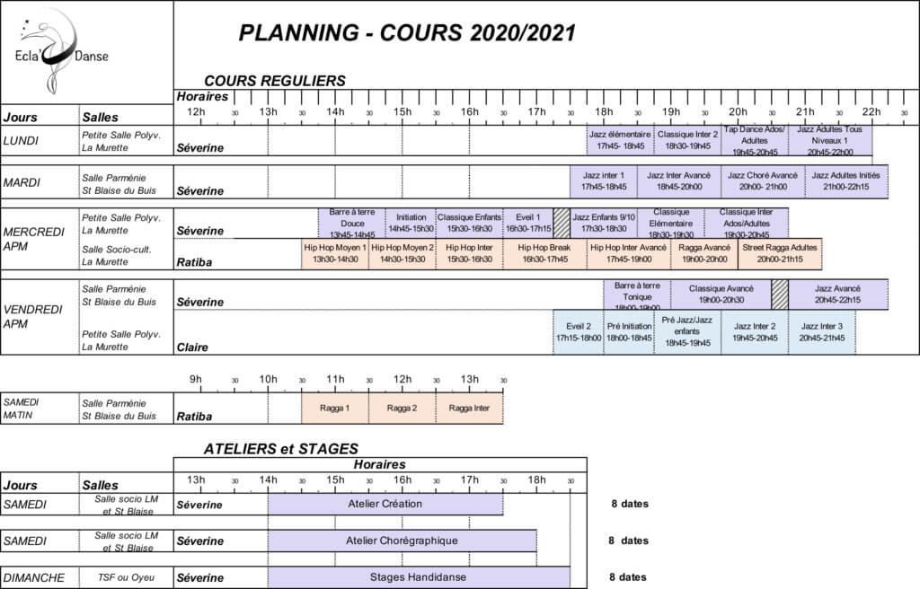 planning Cours de danse 2020/2021